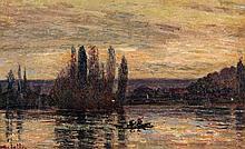 Joseph Marie Louis DELATTRE (1858-1912) Bateau sur la Seine Huile sur toile Signée en bas à gauche 30 x 40cm