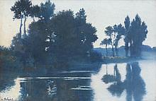 Alphonse OSBERT (1857-1939) Tombée du soir sur l'Oise, 1888 Huile sur toile Signée et datée