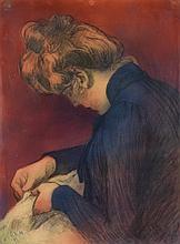 Georges-Daniel DE MONFREID (1856-1929) Femme de profil, 1899 Pastel sur papier Monogrammé et daté