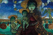 Rene (Bro) Brault (1930-1986) Vierge à l'enfant Huile sur toile Signée au milieu vers la gauche 54 x 81cm