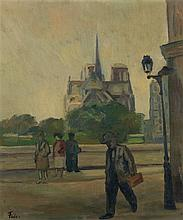 Adolphe Aizik Feder (1886-1943) Les quais de Notre Dame Huile sur toile Signée en bas à gauche 55 x 46cm