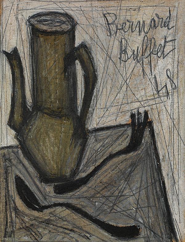 BERNARD BUFFET (1928-1999) Nature morte à la cafetière, 1948 Huile sur toile Signée et datée «48» en haut à droite 35 x 27cm