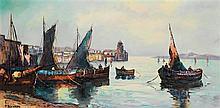 Pierre Dumont (XXe) Marine Huile sur toile Signée en bas à gauche 60 x 121cm