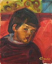 André Claudot Portrait de jeune garçon Huile sur toile Signée en bas à droite 46 x 38,5cm