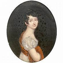 Claude Jean BESSELIEVRE (1779-vers 1830) Portrait de jeune femme au châle rouge bordé de cachemire