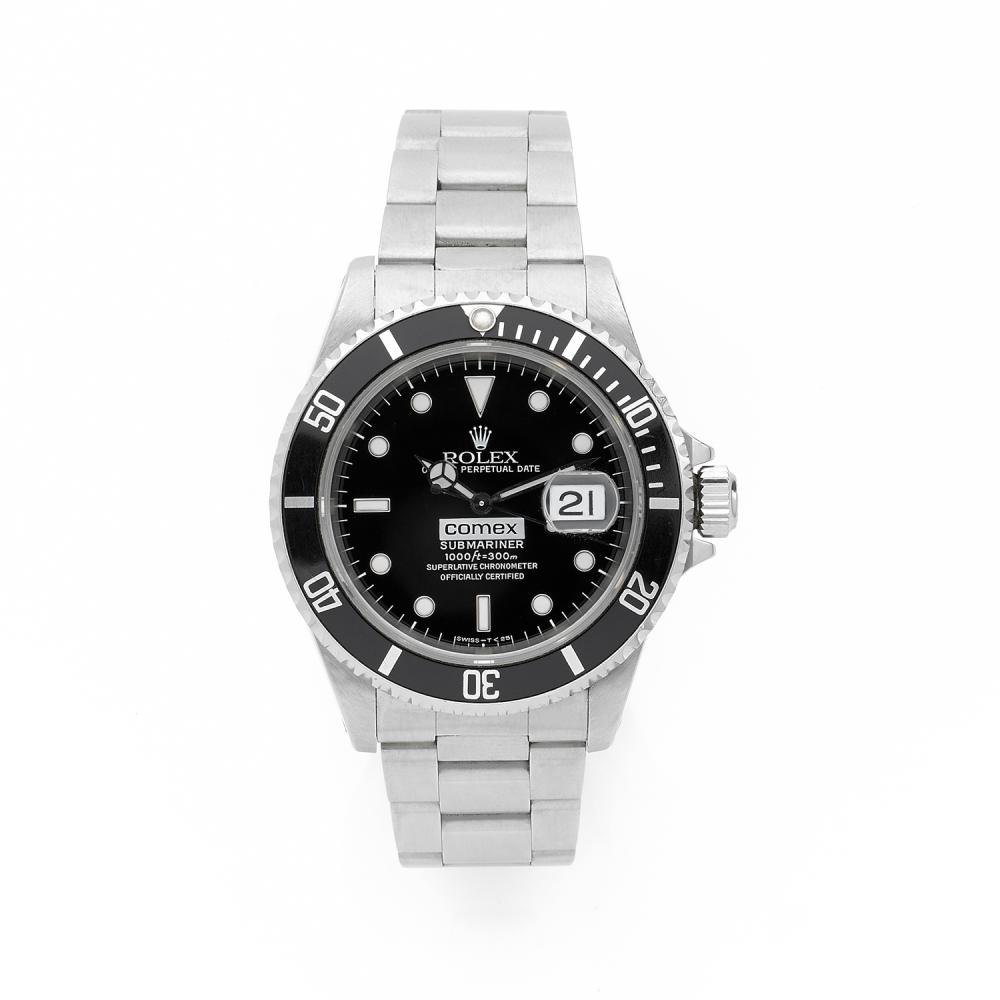 ROLEX COMEX. SUBMARINER DATE. REF. 16610. A stainless steel self winding COMEX diving watch, by Rolex, circa 1996. PROVENANCE : MR P...