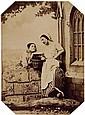 FÉlix-Jacques Moulin (Montreuil sur mer 1802-Paris 1875) Modèles en conversation, ca 1855. Épreuve albuminée, négatif verre, montée ...