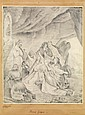 ÉCOLE ORIENTALISTE (XIXesiècle) FEMMES GRECQUES GREEK WOMEN Dessin au crayon sur papier signé Abraham Zawhlen , daté «3mars1844...