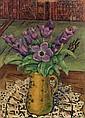 MOSES LEVY (1885-1968) LES ANÉMONES THE ANEMONES Huile sur contreplaqué signée sur le côté droit vers le bas.50 x 37cm (19.7 x 14.5...