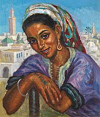 SOLANGE MONVOISIN (1911-1985) JEUNE MAROCAINE AUX TATOUAGES YOUNG MOROCCAN WITH TATOOS Huile sur toile signée en bas à droite