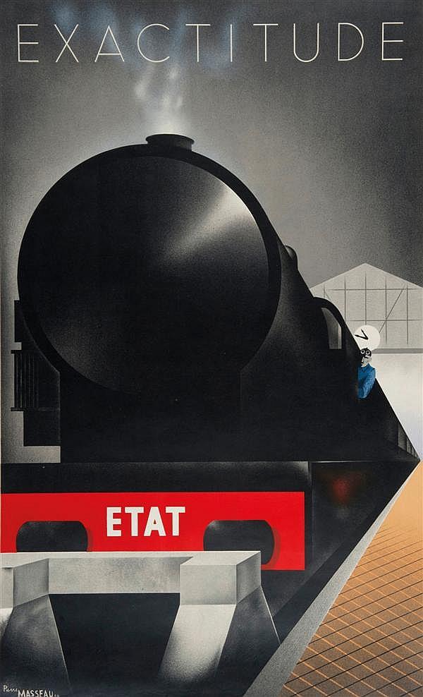 Pierre Fix-Masseau Chemin de fer de l'État Exactitude Art, 1932 100 x 62 cm, BE (petite fripure dans la marge du bas)