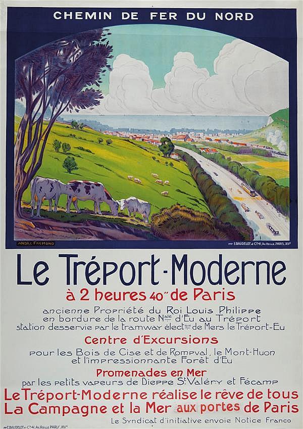 André Frémond Chemin de fer du Nord Le Tréport-Moderne 105 x 75 cm