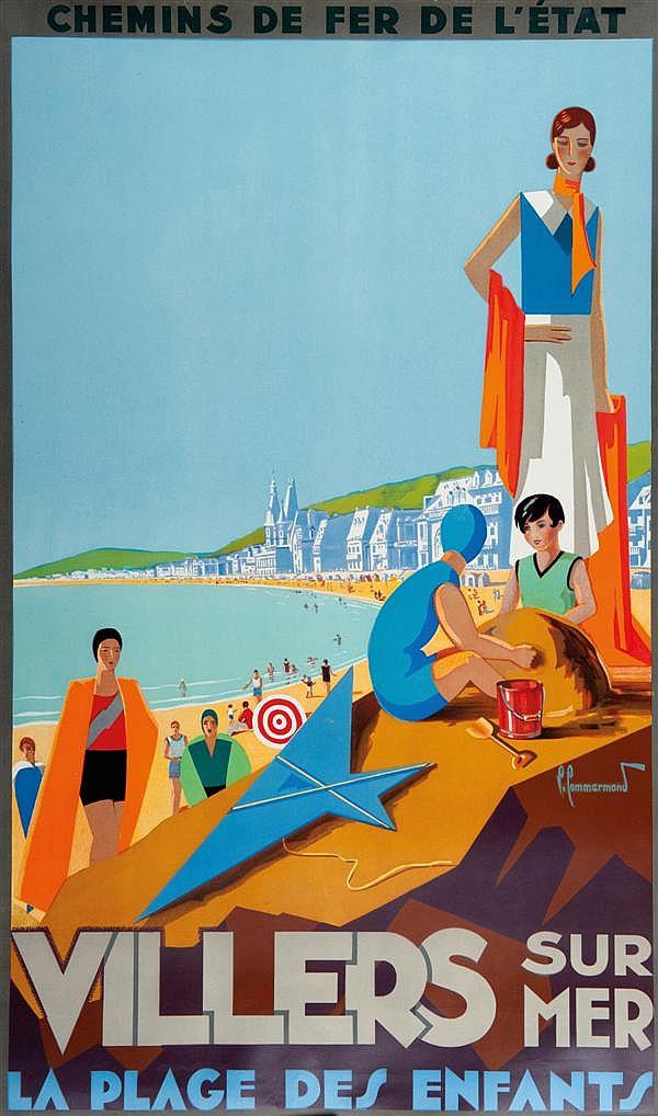 Pierre Commarmond Chemin de fer de l'État Villers sur Mer La Plage des Enfants 100 x 62 cm, BE