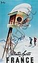 Jean Léger Winter sports in France, imp. E. Desfosses 100 x 62 cm, BE (état neuf), Johann Leger, Click for value
