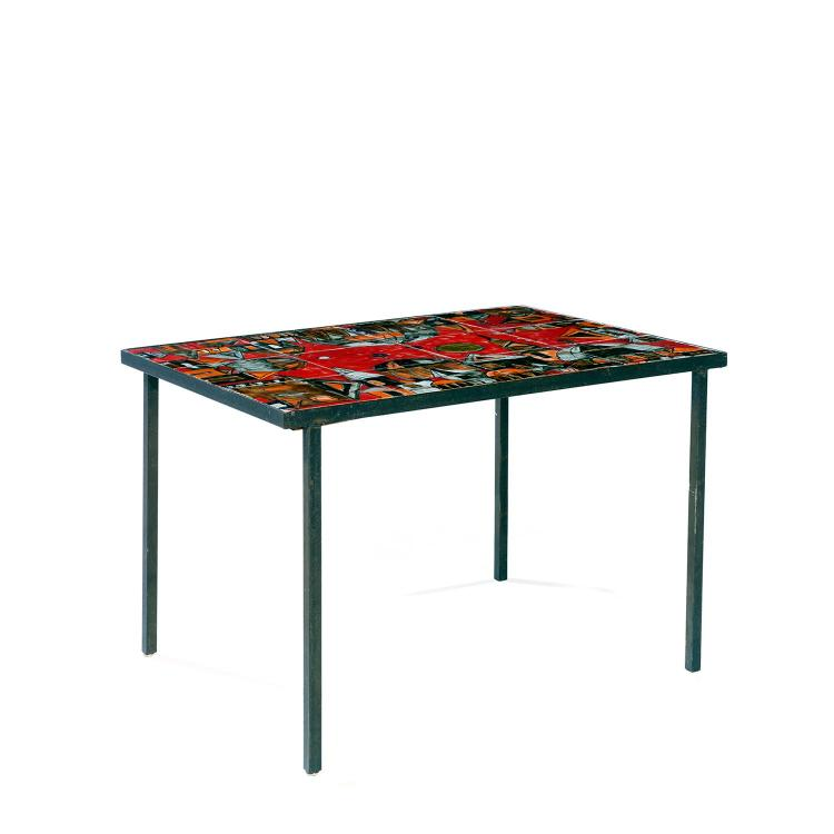 Ann es 50 table basse structure m tallique laqu e noir pl - Table basse scandinave annee 50 ...
