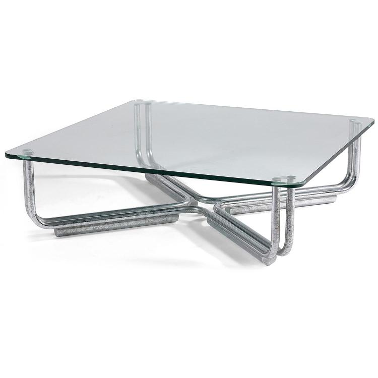Ann es 70 table basse carr e pi tement constitu d 39 39 arceaux for Table basse carree metal