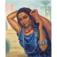 SOLANGE MONVOISIN (1911-1985) JEUNE FEMME À LA CRUCHE