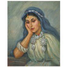 SOLANGE MONVOISIN (1911-1985) JEUNE ORIENTALE PENSIVE THINKING ORIENTAL LADY Huile sur panneau, signée en bas à droite. 48 X...