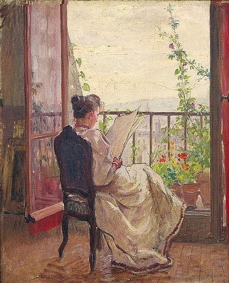 René-Louis CHRÉTIEN (Choisy-le-Roi 1867 - 1945) Portrait de jeune femme assise, lisant à sa fenêtre Sur sa toile d'origine 4...