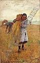 René-Louis CHRÉTIEN (Choisy-le-Roi 1867 - 1945) Une jeune moissonneuse Sur sa toile d'origine 61 x 38 cm Signée en bas à d..., René-Louis Chrétien, Click for value