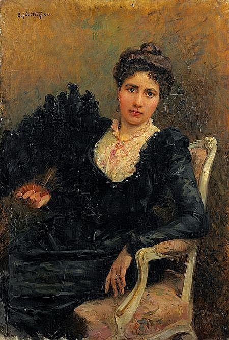 René-Louis CHRÉTIEN (Choisy-le-Roi 1867 - 1945) Portrait de femme assise Sur sa toile d'origine 85 x 58 cm Signée et datée...