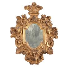 MIROIR EN BOIS DORÉ, VERS 1700