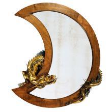 MIROIR AU DRAGON ATTRIBUÉ À GABRIEL VIARDOT, CIRCA 1900en noyer en croissant de lune d''où s''échappe un dragon en bronze.A walnut dra...