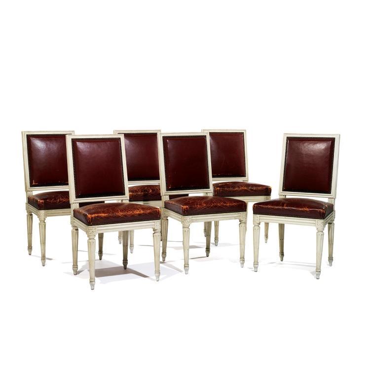 Suite de six chaises dossier la reine de style louis xvi - Chaises en bois blanc ...