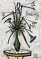 Bernard Buffet (1928-1999)  Lys et iris dans un vase de Gallé, 1998 Huile sur toile Signée en haut à droite et datée en bas à droite...
