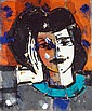 ƒManolo Valdés (né en 1942) Rostro sobre fondo naranja, 2006 Technique mixte et collages sur toile de jute Signé au dos Mixed media ...