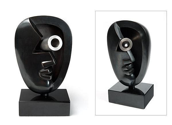 Strong-Cuevas (née en 1929)  Half Telescope, 1995 Bronze à patine noire et acier inox Monogrammé, numéroté 6/10 et daté Bronze with ...