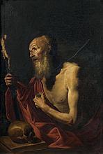 école espagnole du XIXe siècle, suiveur de José de Ribera Saint Jérôme Sur sa toile et son châssis d'origine 112 x 79 cm Restauratio...