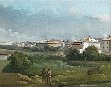 Attribué à Jan Frans Van BLOEMEN (1662 - 1749) Paysage d'Italie Toile 25 x 32 cm