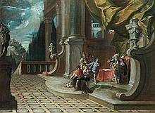 école VENITIENNE vers 1740, entourage de Francesco FONTEBASSO Passation de pouvoir dans un Palais avec le Nom de Jésus en haut à dro...