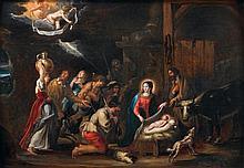 Attribué à Willem van herp (anvers 1614 - 1677) L'Adoration des Bergers Panneau de chêne, une planche, non parqueté 51,5 x 75 cm Au ...
