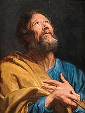 Attribué à Anton Van Dyck (1599 - 1641) Saint Pierre Panneau de chêne, une planche, non parqueté 66,5 x 51,5 cm Restaurations ancien...