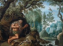 Martin RYCKAERT (Anvers 1587 - 1631) Saint Onofrius ermite Cuivre 18 x 24 cm
