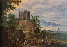 Attribué à Jan BRUEGHEL le Jeune (Bruxelles 1601 - 1678) Retour de pêche avec le temple de Vesta à Tivoli Panneau de chêne, une plan...