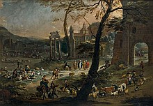 Pieter van BREDAEL (Anvers 1629 - 1719) Scène de marché sur le Campo Vaccino Toile 130 x 187 cm Monogrammée sur la barrique à droite...