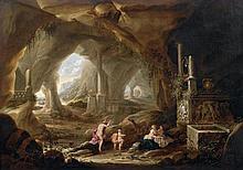 Abraham Van CUYLENBORGH (Avant 1620 - 1658) Le bain de Diane dans une grotte Toile 71 x 102 cm