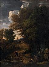 Jan-Baptist Huysmans (anvers 1654 - 1716) Promeneurs sur un chemin à l'orée d'une ville Toile 115 x 85 cm Signée en bas vers la gauc...