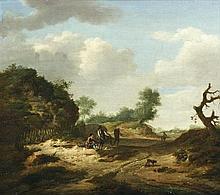 Guillaume DUBOIS (Haarlem vers 1610 - 1680) Paysage animé de promeneurs Toile 44,5 x 51 cm