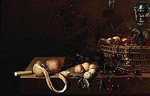 Attribué à JAN DIRVEN (actif vers 1632 - 1653) Nature morte aux cerises, aux groseilles et au citron Panneau de chêne, parqueté 46,5...