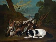 Attribué à Claude-François DESPORTES (1695 - 1774) Epagneul gardant un trophée de chasse Toile, agrandie d'une bande de 16 cm dans l...