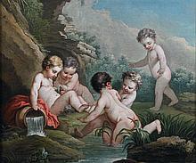 école FRANçAISE du XVIIIe siècle Putti se baignant Toile 92,5 x 111 cm