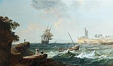 Alexandre Jean NOEL (Brie-Comte-Robert 1752 - Paris 1834) Marine par temps venteux Toile 81,5 x 136 cm