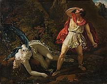 Attribué à Jérôme Martin LANGLOIS (1779 - 1838) Céphale et Procris Sur sa toile d'origine 42 x 54 cm Petits manques