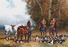 Baron Karl REILLE (Paris 1886 - Cérelles 1974) Le relais des chiens Toile 32,5 x 46 cm Signée en bas à droite : B