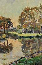 Emmanuel Victor Auguste Marie de la Villéon (1858-1944) Grand bassin du château de la Pesselières