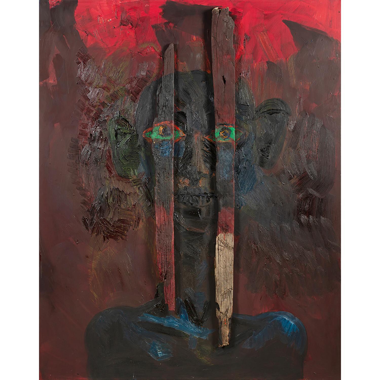RAINER FETTING (né en 1949) Holzbild - Dark Red, 1983 Huile et bois sur toile Signée et datée au dos Oil and wood on canvas;...